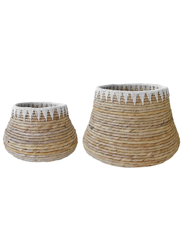 SUTA Abaca Macrame Floor Basket